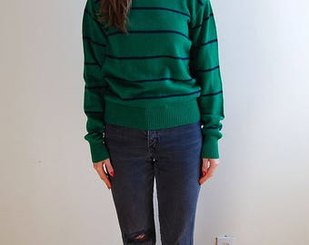 vintage green 90's striped sweater