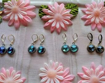 Tiny Dancer Shades of Blue Swarovski Crystal Rivoli Earrings