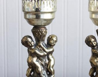Vintage Cherub Angel Candle Holders, 1940s Hurricane Light, 40s  Art Nouveau