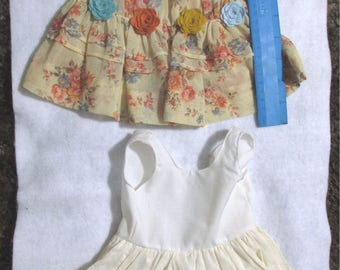 Gorgeous doll dress antique batiste organdy with wool flowers plus slip and bloomer
