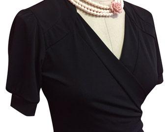 Black Cassidy 1940s Vintage inspired Wrap Dress