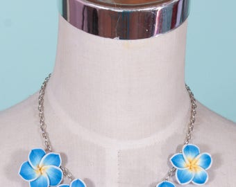 Tiki Blue Frangipani Necklace