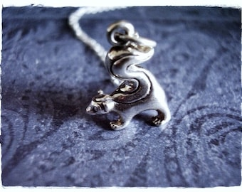 Sterling Silver Skunk Necklace - Sterling Silver Skunk Charm on a Delicate Sterling Silver Cable Chain or Charm Only
