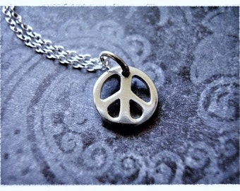 Tiny Peace Sign Necklace - Sterling Silver Peace Sign Charm on a Delicate Sterling Silver Cable Chain or Charm Only