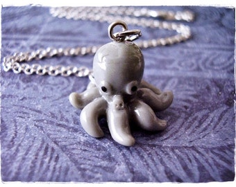 Gray Octopus Necklace - Gray Resin Octopus Charm on a Delicate Silver Plated Cable Chain or Charm Only
