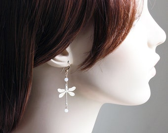 White Patina Dragonfly Earrings with Opal White Crystal Accents on 14K Gold Filled Hooks