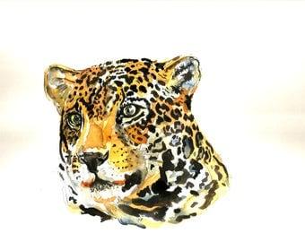 """Art Original Watercolor Animals Pets  """" Leopard"""""""
