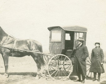 Man and Woman Standing Next To Horse and FANCY COVERED BUGGY Photo Postcard circa 1910