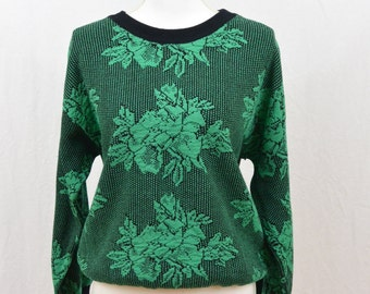 Vintage 80's Sweater, Teal, Floral, Punk, Funky, Medium, Quirky, Hipster, Tumblr Clothing, Rad, Cyber Monday Sale