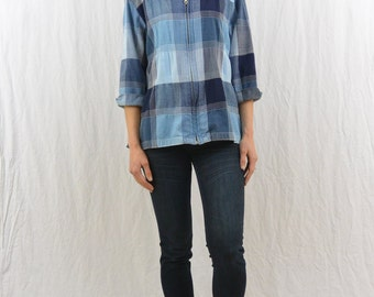 Vintage Patched Zip Up Shirt, Size Small, 90's Clothing, Grunge, Mori Girl, Boro Inspired, Hipster, Oversized, Boxy Fit, Blue