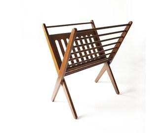 Mid Century Wood Folding Magazine Rack