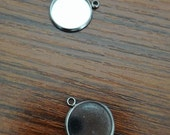 100 Pendant Trays 316L Stainless Steel 6mm/ 8mm/ 10mm/ 12mm/ 14mm/ 16mm/ 18mm/ 20mm Round Bezel Setting W/ Loop Wholesale Base Mountings