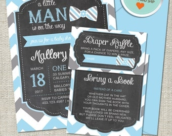 Bow Tie Baby Shower Invitation, Bow Tie Invitation, Bow Tie, Blue, Gray, Chevron (LM) | Printed