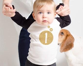 Baby Girl's 1st Birthday - Monochromatic Bubble Birthday Party - Custom Raglan Birthday Shirt - Use Any Number - Gold Glitter Birthday Tee