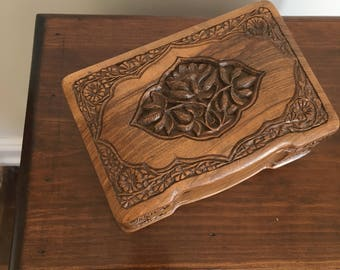 "Vintage Carved Wood ""Secret"" Box / Trick Box / Secret Lock / Locking Box / Jewelry Box / Wooden Jewelry Box / Floral Carved"