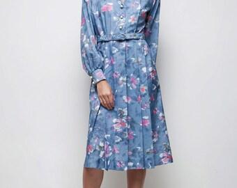 belted V-neck vintage blue floral midi 70s shirtdress LARGE L long sleeves