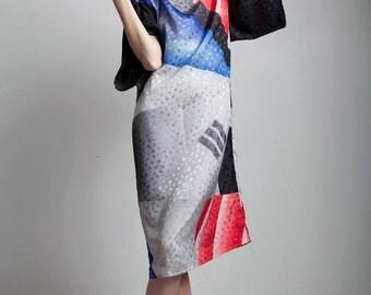 80s vintage kimono sleeve dress black red blue abstract damask satin ONE SIZE S M L small medium large