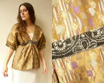 Brocade & Antique Gold Beaded Embellished Reworked Vintage Tunic Top Size Medium