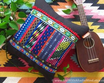 Black Accent Pillow Boho Black Rainbow Weave - Decorative Cushion cover