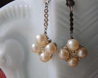 Princess Pearl Drops--Vintage Faux Pearl Rhinestone Clusters Sterling Marcasite Flower EARRINGS