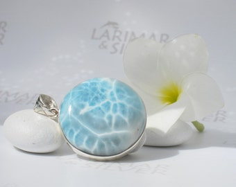 Larimar pendant by Larimarandsilver, The Source of the Fairies - crystal blue Larimar round, turtleback clear water handmade Larimar pendant