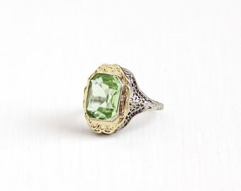 Sale - Vintage 14k White & Yellow Gold Filigree Simulated Peridot Ring - Antique Size 7 1/2 Art Deco 1920s Green Glass Stone Fine Jewelry