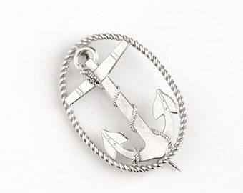 Antique Sterling Silver Anchor Brooch - Vintage Victorian Late 1800s Symbolic Hope Pin Nautical Moor Ship Rope Religious M.A. Garren Jewelry