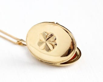 Vintage Gold Plated Four Leaf Clover German Locket Necklace - 1940s WWII Germany Pendant Shamrock Good Luck Gold Tone Photographic Jewelry
