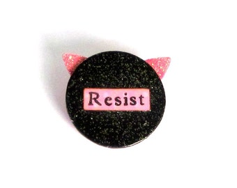 Resist Pussy Hat Magnet or Pin Womens March Commemorative Pin Womens Rights Magnet Equal Rights Resist Jewelery Anti-Trump Political Pin