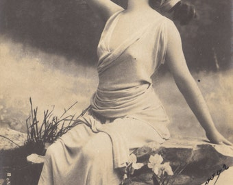 Lutece Bacchante. French Postcard by Reutlinger, posted 1902