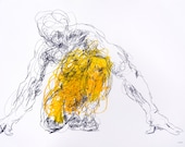 "Expressive Yellow Figure Drawing - Drawing 467 - 12 x 9"" oil pastel and graphite on paper - original drawing by Derek Overfield"