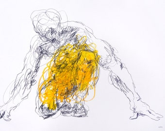 """Expressive Yellow Figure Drawing - Drawing 467 - 12 x 9"""" oil pastel and graphite on paper - original drawing by Derek Overfield"""