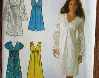 Misses Dress in Two Lengths with Bodice and Sleeve Variations Sizes 8 10 12 14 16 Simplicity Pattern 3831 UNCUT