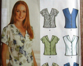 Easy to Sew Misses Blouses with Sleeve and Neck Variations Sizes 6 8 10 12 Simplicity Pattern 7176 UNCUT