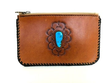 Hand Tooled Leather Clutch With Turquoise Stone