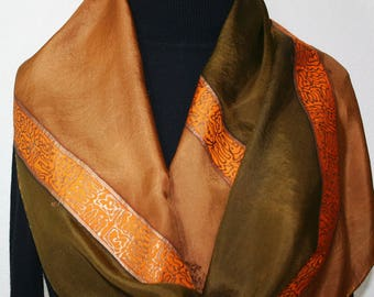 Silk Scarf Brown, Olive Hand Painted Silk Shawl OLIVE ORCHARD by Silk Scarves Colorado. Two SIZES. Elegant Silk Gift. Birthday Gift
