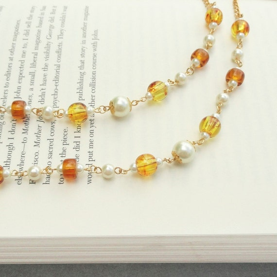 Eyeglass Chain Amber and Gold, Gold Glasses Chain, Amber Eyeglass Chain, Gold Lanyard Amber, Pearl Eyeglass Holder Necklace, Gift for Her
