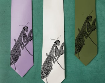 Praying Mantis Tie ‑ SILK Men's Necktie ‑ Brother Gift ‑ Insect Art ‑ Neck Tie ‑ Bugs