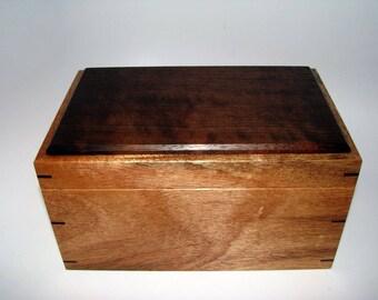 "Keepsake Box. Exotic Mahogany and Peruvian Walnut Keepsake Box. 9.25"" x 6"" x 5"". Handcrafted Wooden Memory Box."