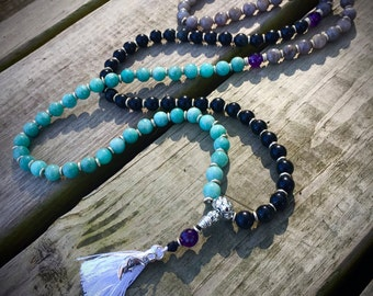 Moonlit Lotus Mala Beads- 108 count with Amazonite, Labradorite and Obsidian beads