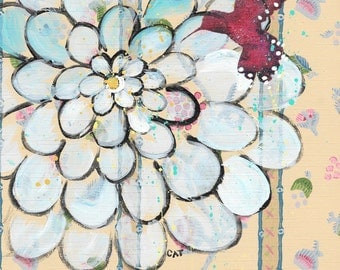 SUMMER SALE. For The Birds - original painting, Magenta Hummingbird and Blue Zinnia Flower painted on Vintage Wallpaper