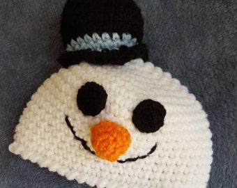 Snowman Hat, Crocheted Snowman Hat