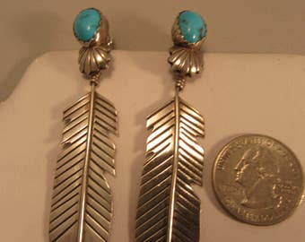 Vintage Turquoise and Silver Handmade Feather Dangle Earrings
