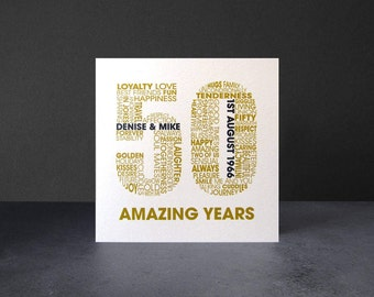 Golden Wedding Anniversary Card - Personalised 50th Anniversary Card - Celebratory 50 Year Card - Wedding Anniversary Celebration Card