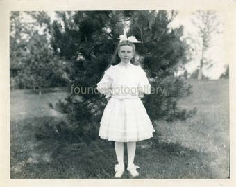 Vintage Photo,  Black & White Photo, Girl's First Communion, Edwardian Fashion, White Dress, Rhodier Slippers, Antique Photo