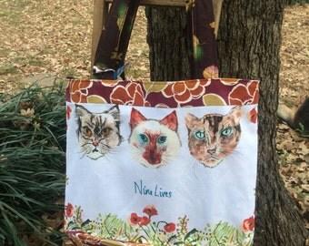 Cat Bag , Cats , Shopping Bag, Reversible Bag, Nine Lives