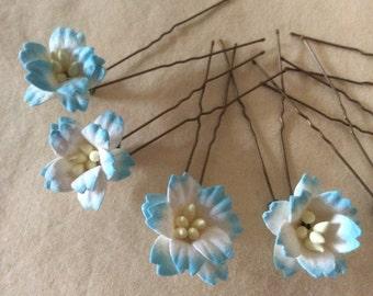 Flower Hair Pins x 8. Ivory/Aqua Blue. HANDMADE. Wedding.