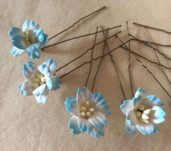 Flower Hairpins x 8. Ivory/Aqua Blue. HANDMADE. Wedding.