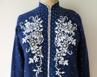 Vintage 1950's/Navy Blue Beaded Sweater Large/Navy Beaded Lambswool Sweater/Navy Blue Beaded Cardigan/Large