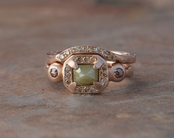 Rose Cut Daimond Engagement Ring Set, Shadow Band, Green Diamond, 14k Rose Gold Cognac Diamond, One of A Kind Earth Concious Engagement Ring